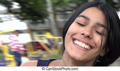Teen Girl Having Fun At Playground