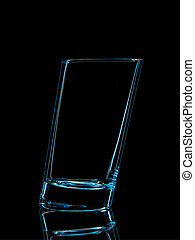Silhouette of blue glass for shot on black background -...