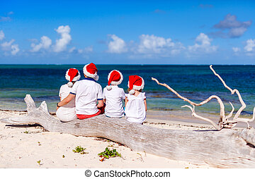Family celebrating Christmas at beach - Back view of...