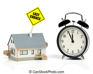 House sale concept - Model house, clock and for last chance...