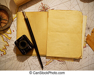 Ship's journal and navigational equipment - Notebook and...