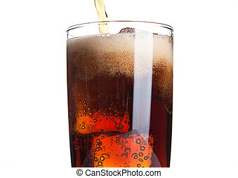 Cola glass with ice cubes and bubbles on white background