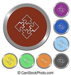 Color puzzles buttons - Set of color glossy coin-like...