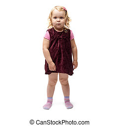 Young little girl standing over isolated white background