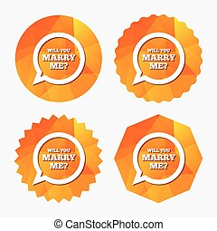 Marry me speech bubble sign icon. Engagement symbol. - Will...