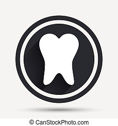Tooth sign icon. Dental care symbol. Circle flat button with...