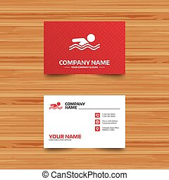 Swimming sign icon. Pool swim symbol. - Business card...