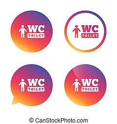 WC men toilet sign icon Restroom symbol - WC men toilet sign...