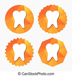 Tooth sign icon. Dental care symbol. Triangular low poly...