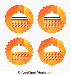 Shower sign icon. Douche with water drops symbol. Triangular...
