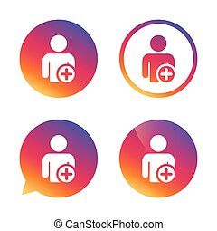 Add user sign icon. Add friend symbol. Gradient buttons with...