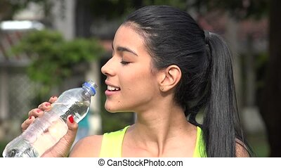 Thirsty Teen Female Drinking Water