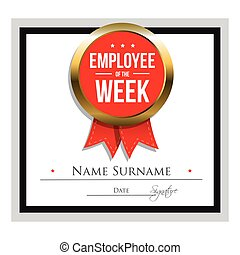 Employee of the week certificate template