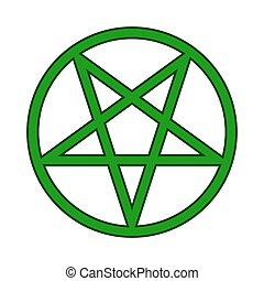 Pentagram symbol icon on white - Pentagram symbol icon on...