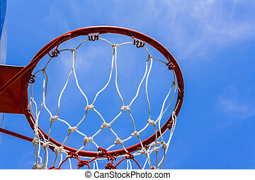 basketball hoop - A view of a basketball hoop from below