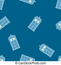 seamless pattern vector illustration of british police box...