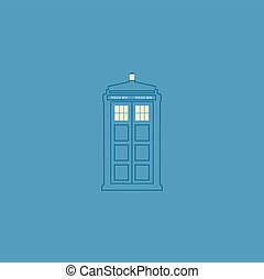 vector illustration of british police box illuminating on...