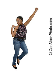 Excited woman celebrating