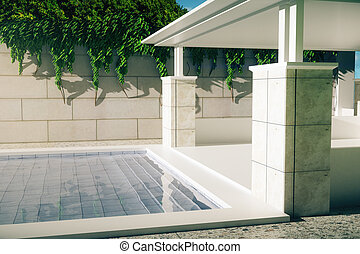 Luxurious pool with patio side - Luxurious outdoor pool and...