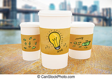 Coffee cups with idea sketch