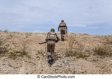 Soviet paratroopers in Afghanistan during the Soviet Afghan...