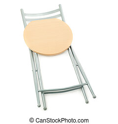 Folding chair over isolated white background - Folding chair...