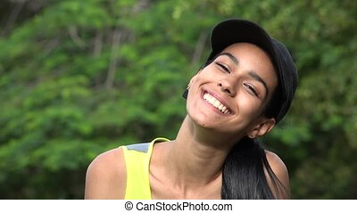 Cute Smiling Happy Teen Girl Wearing Baseball Cap