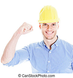 Successful Engineer with yellow fabric hat - Successful...