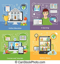 Online Education Concept 4 Flat Icons - Online education for...