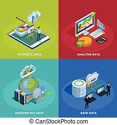 Data Analysis 4 Isometric Icons Square - Big data collecting...