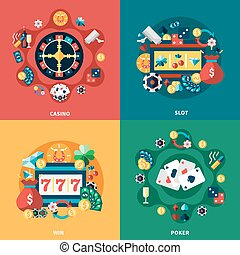 Casino Games Flat Icons Square Composition - Casino games...