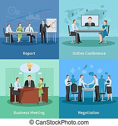 Conference Concept Icons Set - Business Meeting Concept....