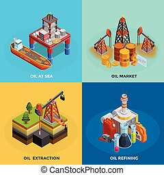 Oil Industry Isometric 4 Icons Square - Oil industry 4...