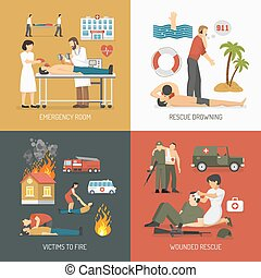 First Aid Concept 4 Flat Icons - First air assistance for...