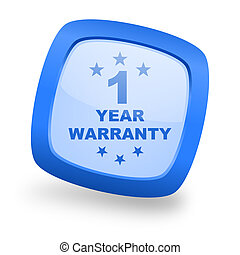 warranty guarantee 1 year square glossy blue web design icon...
