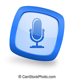 microphone square glossy blue web design icon - microphone...