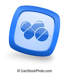 medicine square glossy blue web design icon - medicine blue...