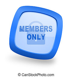 members only square glossy blue web design icon - members...