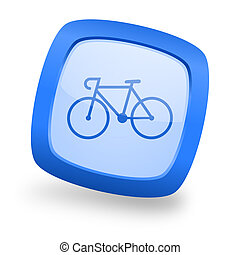 bicycle square glossy blue web design icon - bicycle blue...