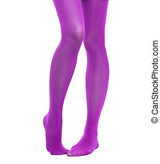 Woman slim legs and violet stockings isolated - Female...