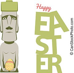 Happy Easter concept, shows moai statue with egg and...