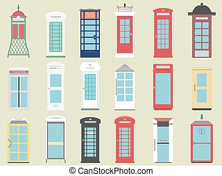 Set of 9 United Kingdom Telephone Boxes from England,...