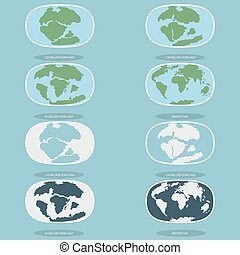 Tectonic Plates on the planet Earth. modern continents and...