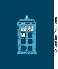 British police box public call vintage style illustration -...