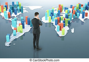 Man looking at abstract business map - Thoughtful...
