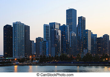 Twilight view of the Chicago skyline