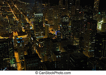 Aerial view of Chicago at night