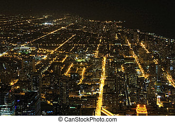 Aerial view of Chicago, Illinois at night