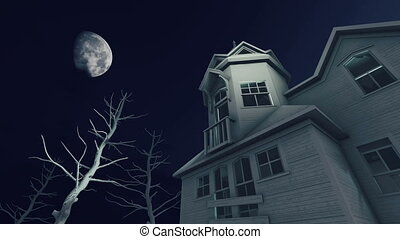 Haunted house at scary moon night - Fantastic big moon and...