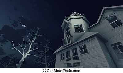 Old haunted house and night sky with moon 4K - Old abandoned...